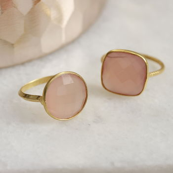 Semi Precious Rose Quartz Ring
