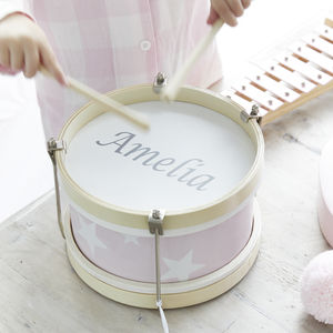 Personalised Pink Wooden Play Drum - creative activities