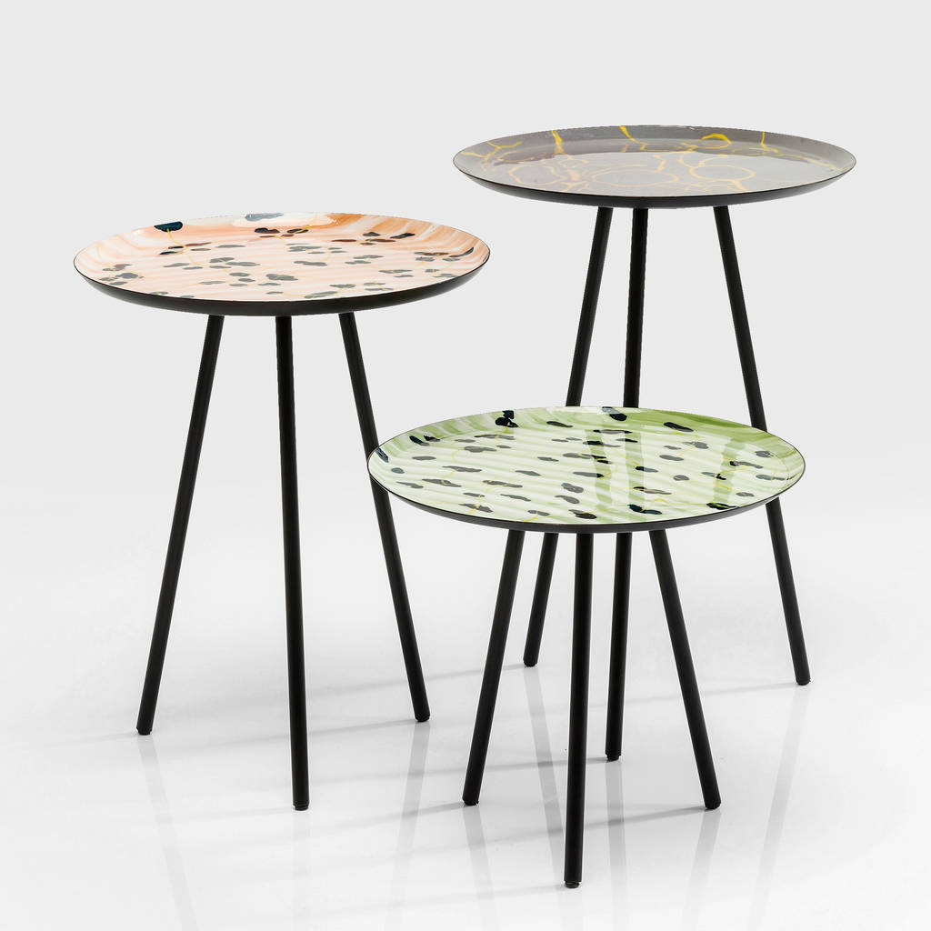 Set Of Three Retro 1950s Style Patterned Side Tables