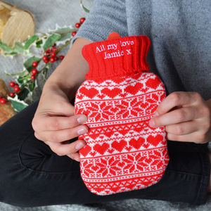 Personalised Knitted Hot Water Bottle - health & beauty sale