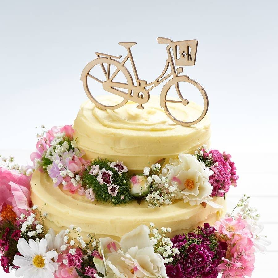 personalised bicycle wedding cake topper by owl & otter ...
