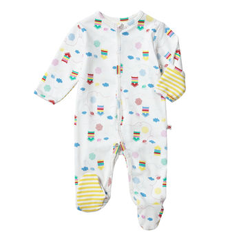 Unisex Multicoloured Bee Themed Footed Baby Sleepsuit