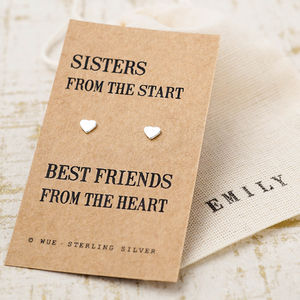 Sister Gift Silver Earrings - wedding thank you gifts