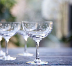 Set Of Six Star Champagne Saucers - drink & barware
