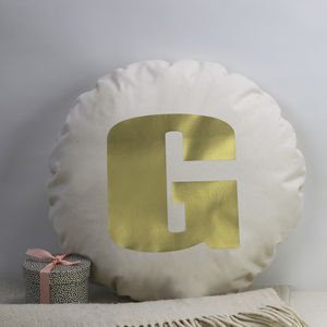 Golden Initial Cushion - whatsnew