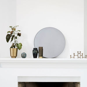 Grey Glass Round Wall Mirror - bedroom
