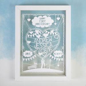 Personalised Romantic Love Papercut - mixed media & collage