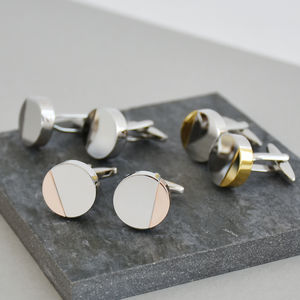 Half Moon Mixed Metal Personalised Solid Disc Cufflinks - cufflinks