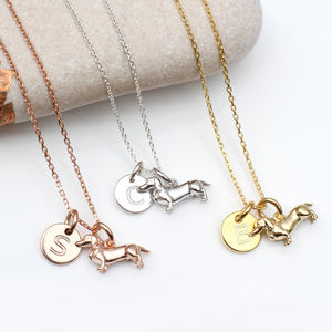 Personalised 18ct Gold Or Silver Dachshund Necklace