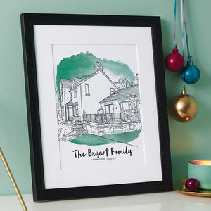 Personalised Watercolour House Line Drawing - family & home