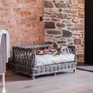 Raised Rattan Dog Bed - dog beds & houses