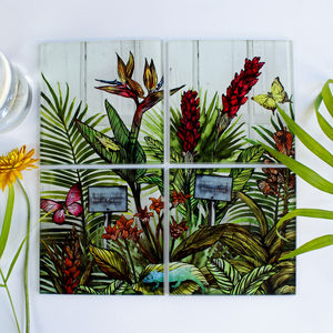 Glasshouse Botanical Glass Coaster Set - kitchen