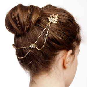 Bohemian Wedding Hairpiece With Gold Leaves