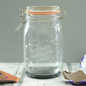 Personalised Chocolate Storage Jar - storage & organisers