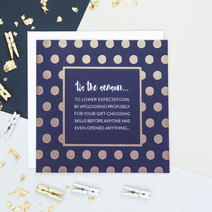 'Tis The Season' Gold Foiled Funny Christmas Card - cards & wrap