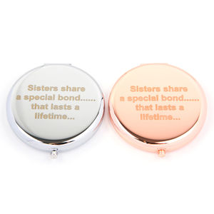 Sisters Compact Mirror In Rose Gold And Silver - compact mirrors