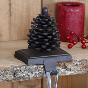 Pine Cone Cast Iron Christmas Stocking Holder - christmas sale