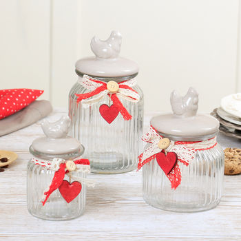 Set Of Three Farmhouse Country Kitchen Hen Storage Jars