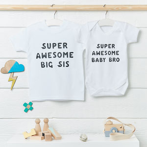 Super Awesome Siblings Clothes Set - babygrows