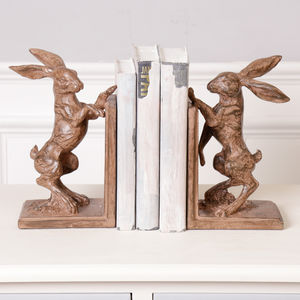 Luxury Gents Office Boxing Hare Bookends - bookends