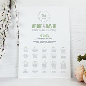 'Athena' Wedding Table Seating Plan