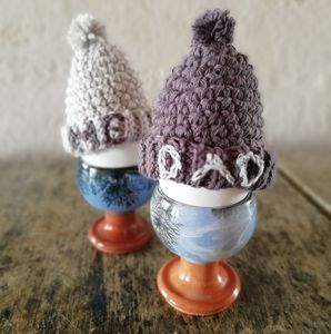 Father's Day Dad And Me Bobble Hat Egg Cosies - egg cups & cosies