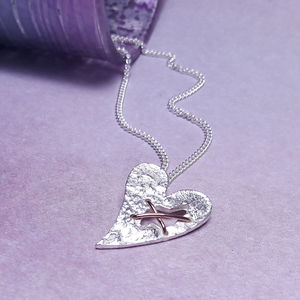Sterling Silver Torn Heart Necklace