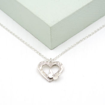 Sterling Silver Hammered Heart And Butterfly Pendant