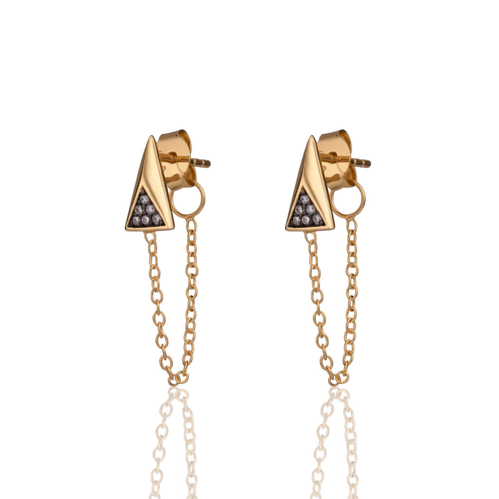 Gold Galaxy Chained Earrings By Scream Pretty