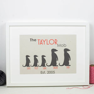 Personalised Family Print Meerkats