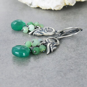 Green Onyx And Chrysoprase Leafy Earrings
