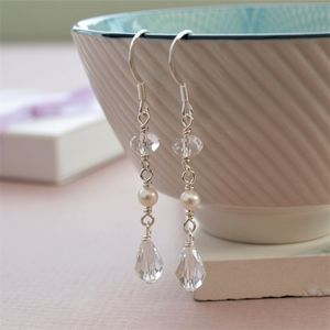 Crystal And Pearl Bridal Earrings - earrings