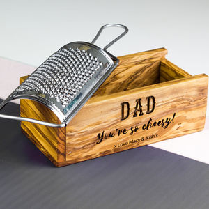 Italian Cheese Grater With Personalised Olive Wood Box - utensils