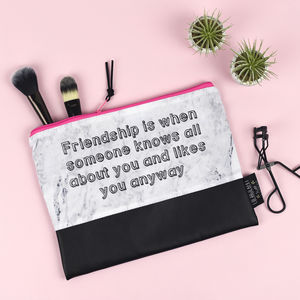 'Friendship Is When' Marble And Leather Make Up Bag - make-up & wash bags