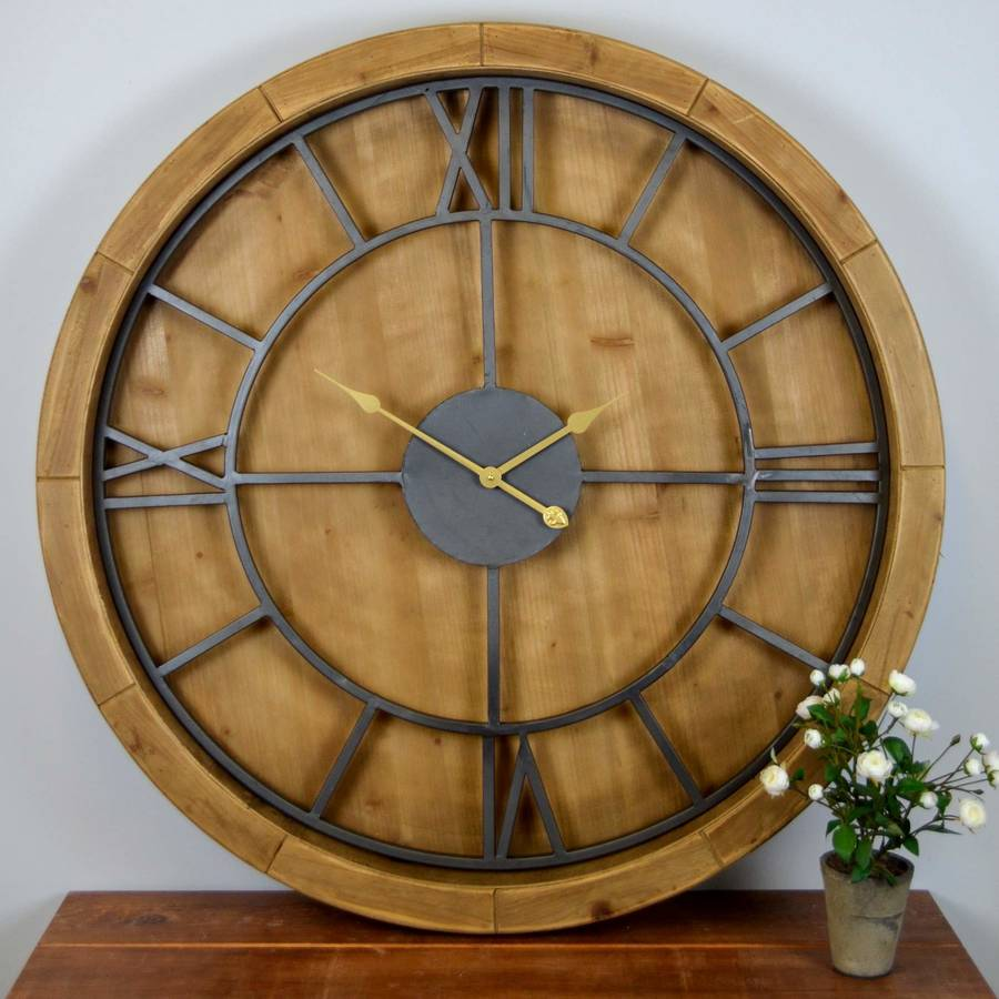 Solid Wood Large Wall Clock By The Orchard