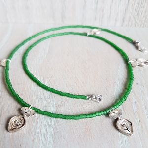 Silver Antique Charm And Green Beaded Necklace - necklaces & pendants