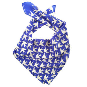 Birds In Flight On Blue Printed Silk Scarf, Gift