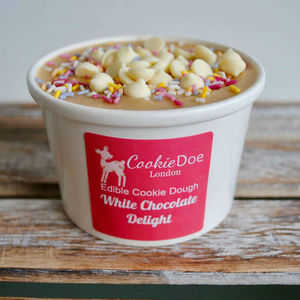 White Chocolate Delight Edible Cookie Dough Tub - wedding favours
