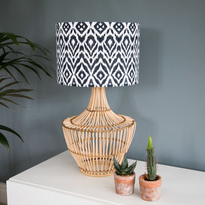 Black And White Boho Diamond Ikat Drum Lampshade