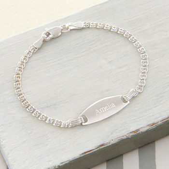 Personalised Sterling Silver Baby Girls ID Bracelet