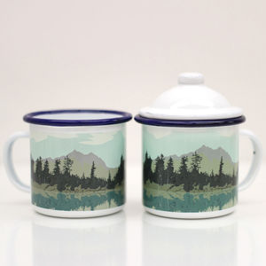 Enamel Mug With Lake And Forest Design