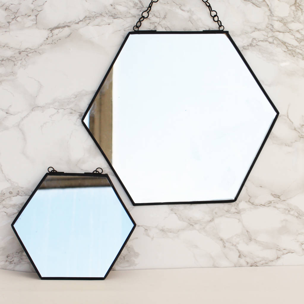 New Bathrooms Designs Black Hexagon Shaped Mirror By Posh Totty Designs