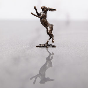Miniature Bronze Hare Boxing Statue - home accessories