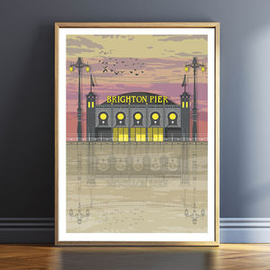 Brighton Pier Sunset Architectural Print - canvas prints & art