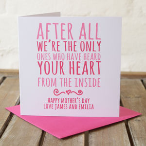 'Heard My Heart' Personalised Mother's Card - sentimental cards