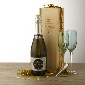 21st Birthday Personalised Prosecco And Wooden Gift Box - 21st birthday gifts