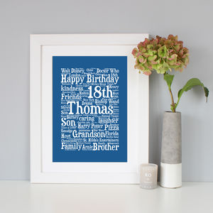 Personalised 18th Birthday Word Art Gift - 18th birthday gifts