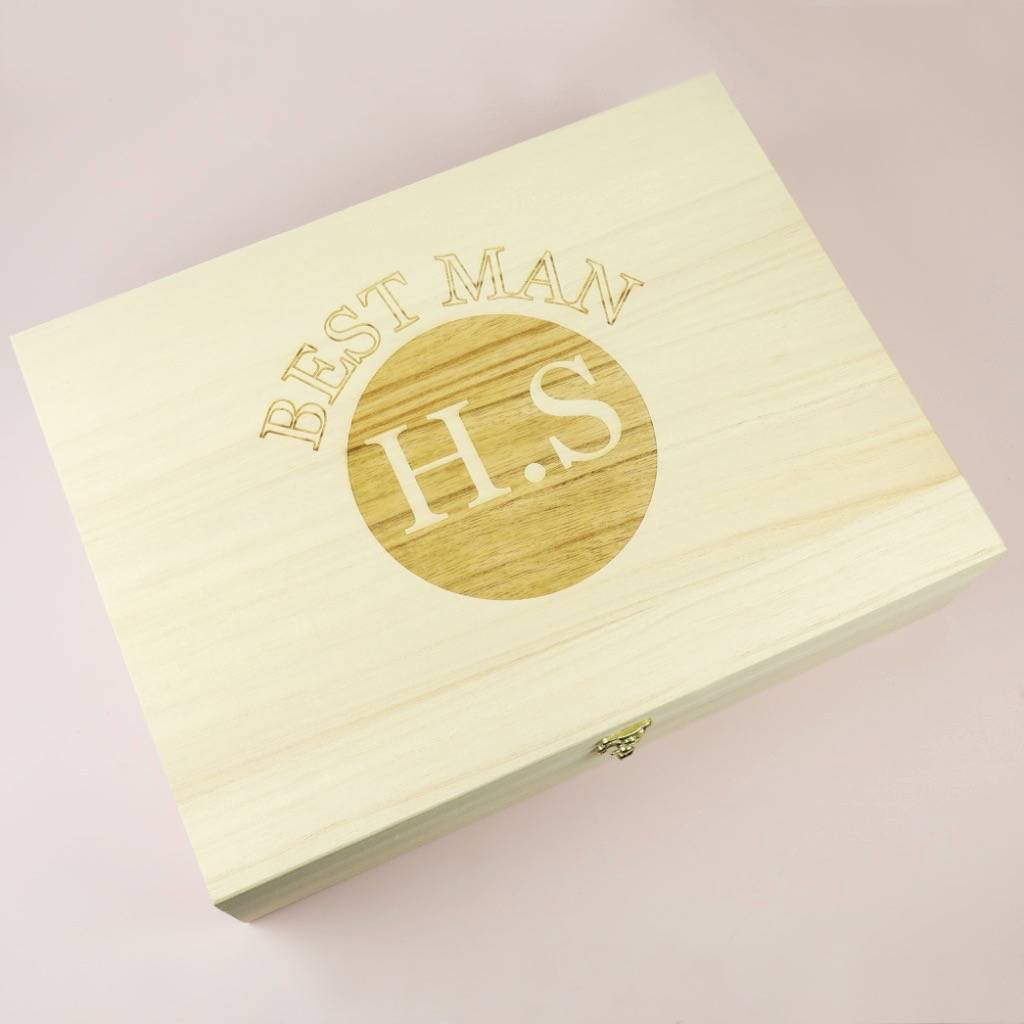 Personalised Engraved Wooden 'Best Man' Box