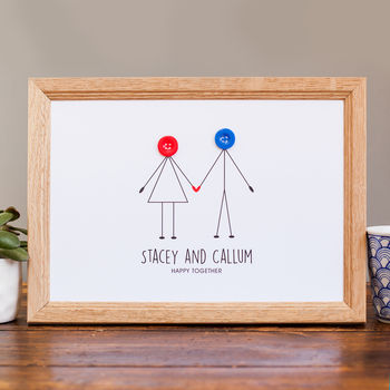 Personalised happy couple button print