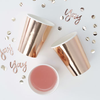 Rose Gold Foiled Party Paper Cups Eight Pack